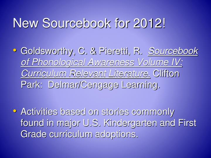 New Sourcebook for 2012!