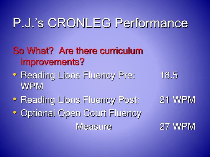P.J.'s CRONLEG Performance