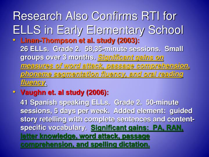 Research Also Confirms RTI for ELLS in Early Elementary School