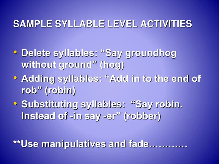 SAMPLE SYLLABLE LEVEL ACTIVITIES