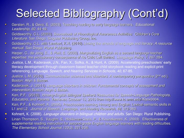 Selected Bibliography (Cont'd)