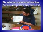 six selected rimes word families bunny own ing og one ind