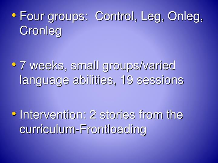 Four groups:  Control, Leg,