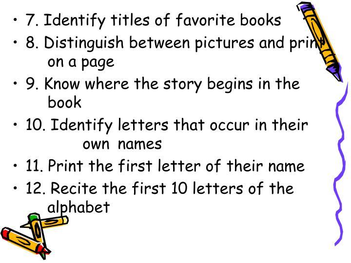 7. Identify titles of favorite books