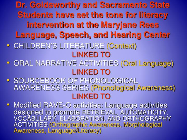 Dr. Goldsworthy and Sacramento State Students have set the tone for literacy intervention at the