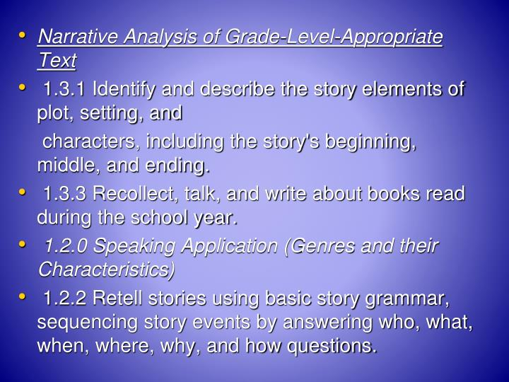 Narrative Analysis of Grade-Level-Appropriate Text