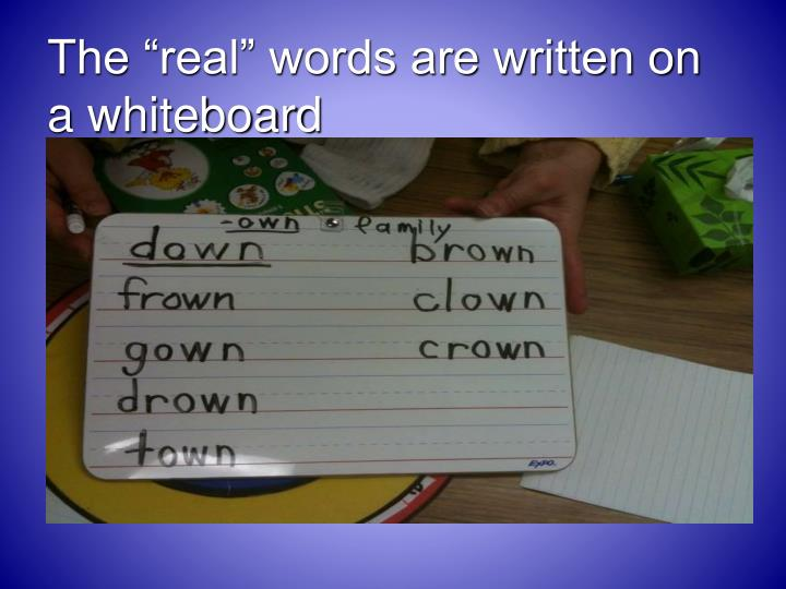"""The """"real"""" words are written on a whiteboard"""