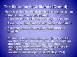 the situation in california cont d