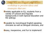 thus it is the overall goal of this workshop to present ideas and strategies that are