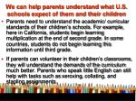 we can help parents understand what u s schools expect of them and their children