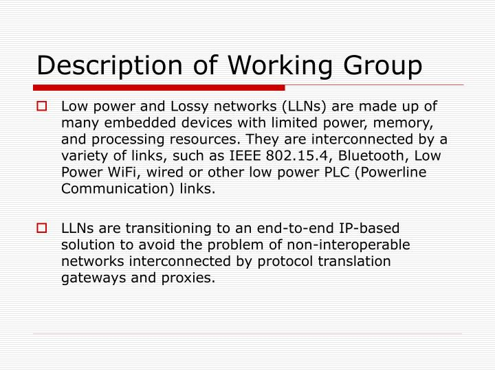 Description of Working Group