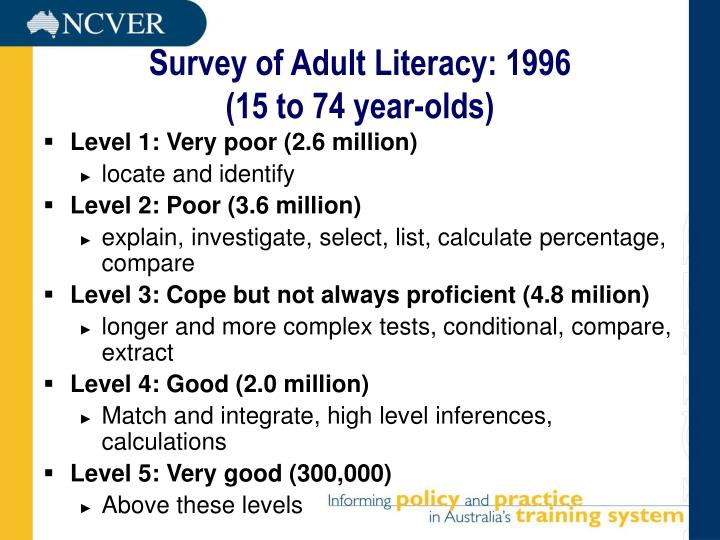 Survey of adult literacy 1996 15 to 74 year olds