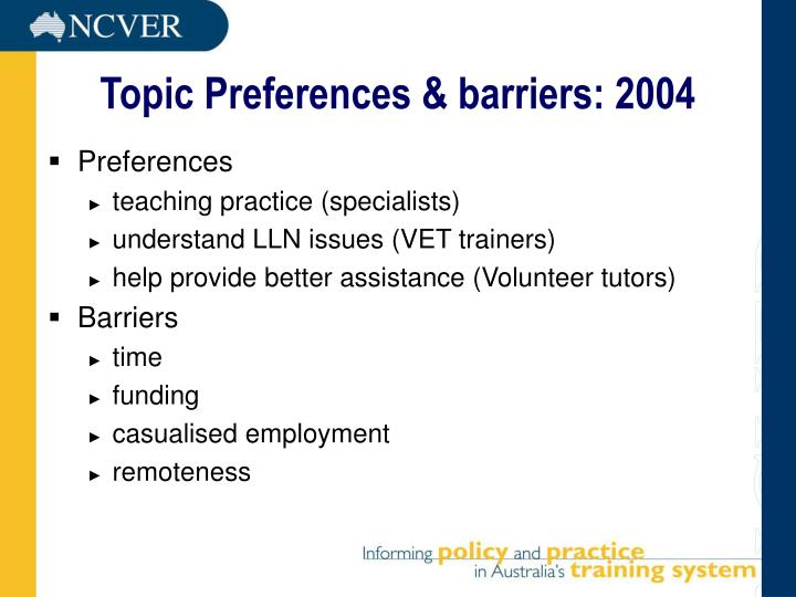 Topic Preferences & barriers: 2004