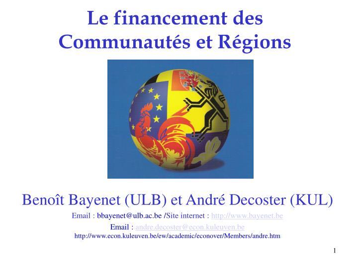 Le financement des Communautés et Régions