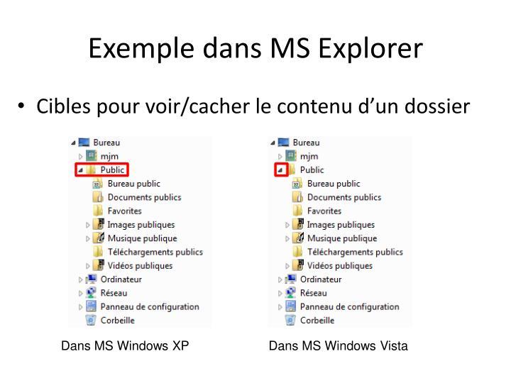 Exemple dans MS Explorer