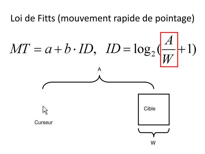Loi de Fitts (mouvement rapide de pointage)
