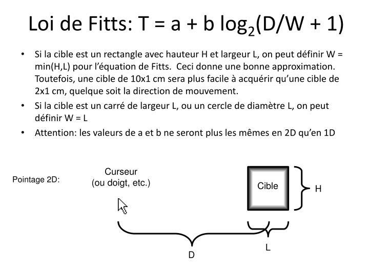 Loi de Fitts: T = a + b log