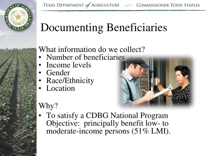 Documenting Beneficiaries