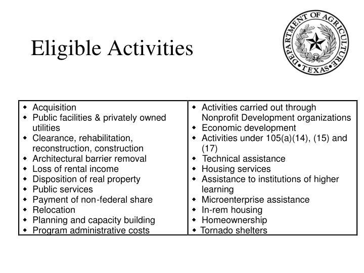 Eligible Activities