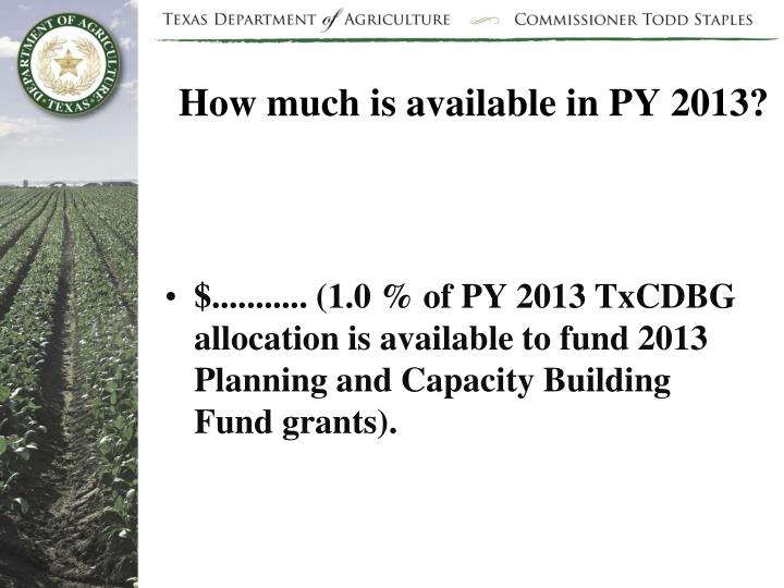 How much is available in PY 2013?