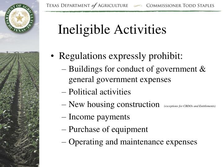 Ineligible Activities