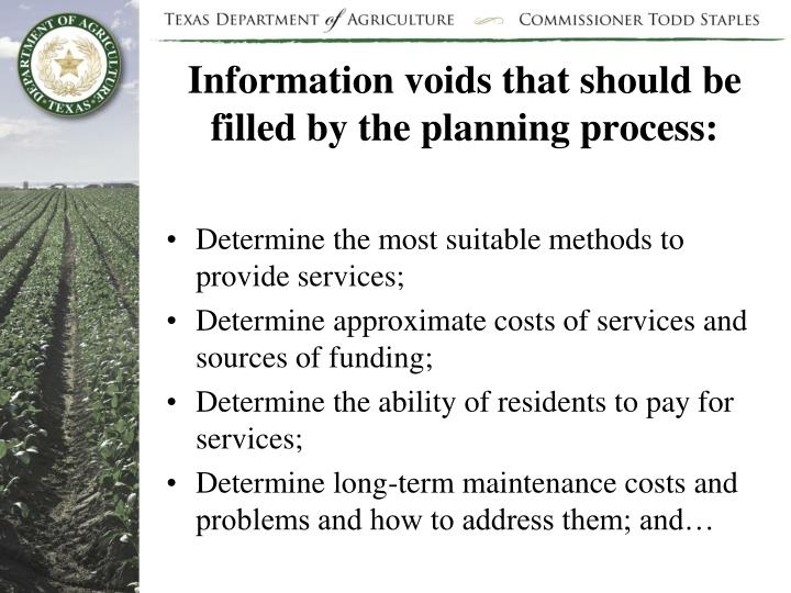 Information voids that should be filled by the planning process: