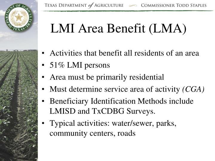 LMI Area Benefit (LMA)