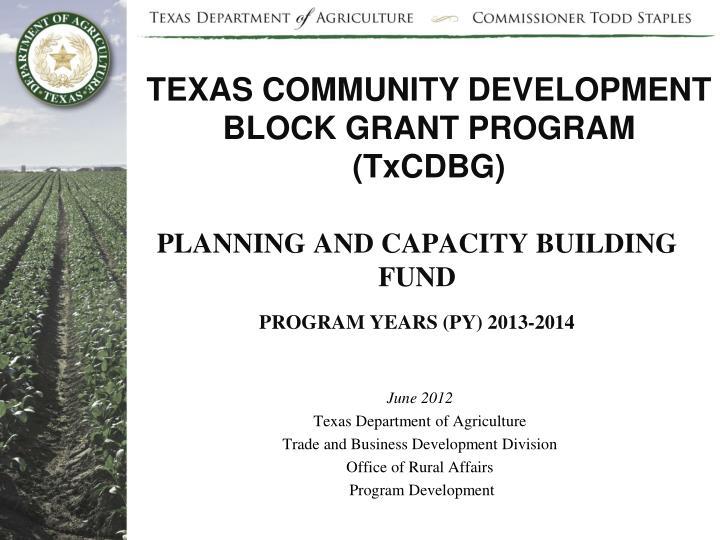 TEXAS COMMUNITY DEVELOPMENT BLOCK GRANT PROGRAM (TxCDBG)