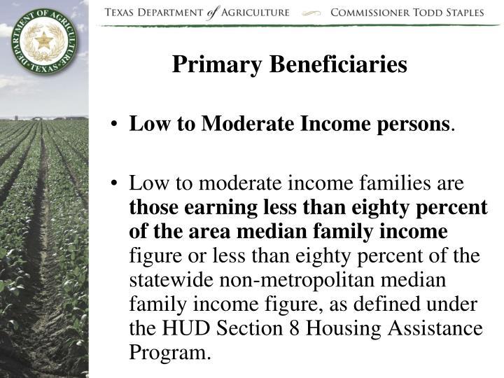 Primary Beneficiaries