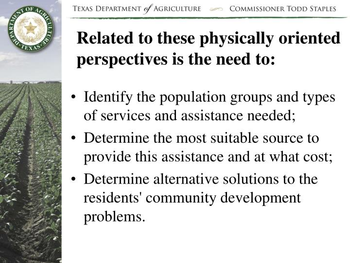 Related to these physically oriented perspectives is the need to: