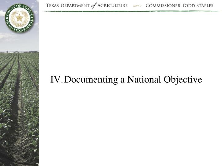 Documenting a National Objective