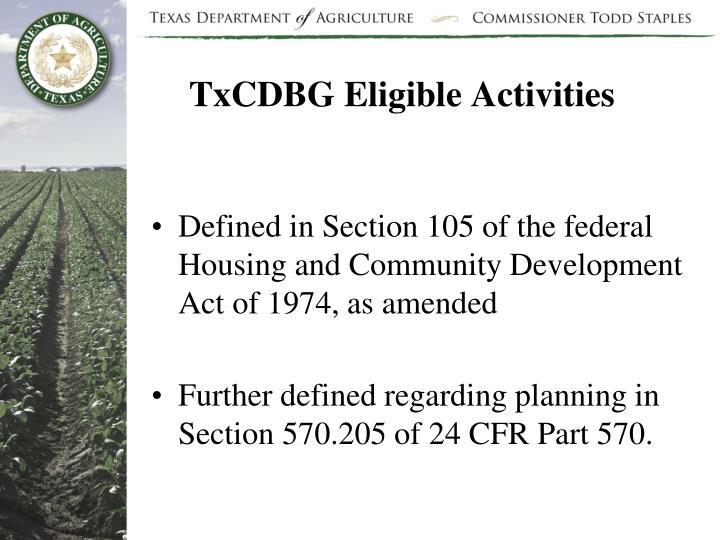 TxCDBG Eligible Activities