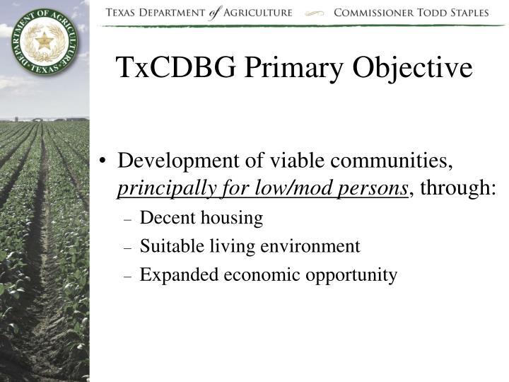 TxCDBG Primary Objective
