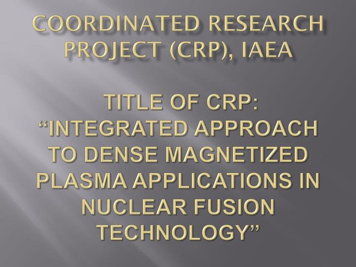 Coordinated Research Project (CRP), IAEA