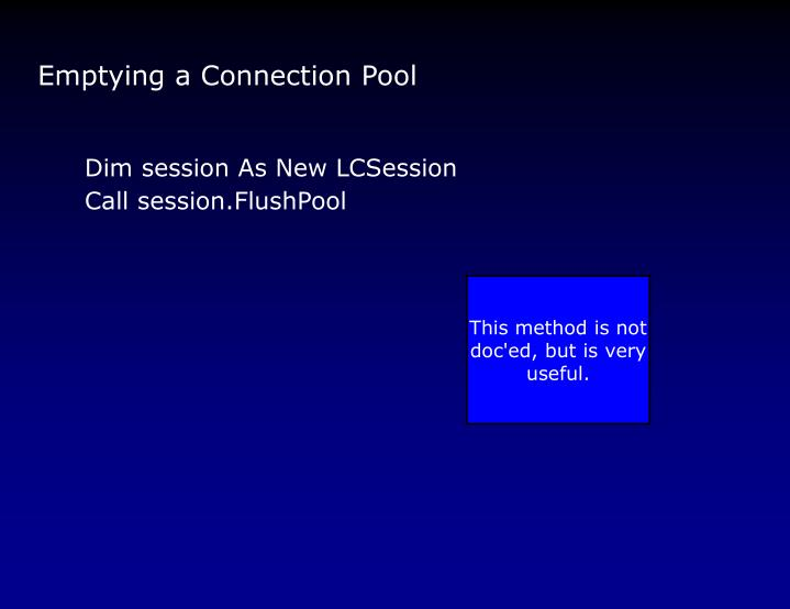 Emptying a Connection Pool