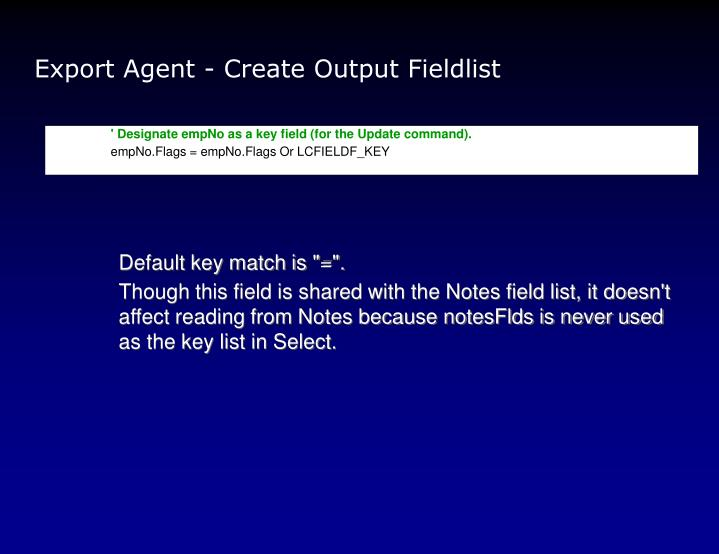 Export Agent - Create Output Fieldlist
