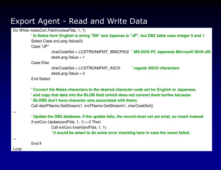 Export Agent - Read and Write Data