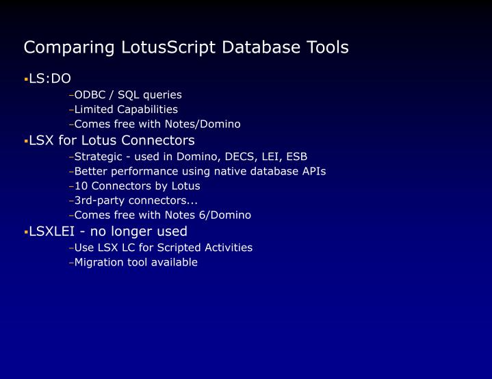 Comparing LotusScript Database Tools