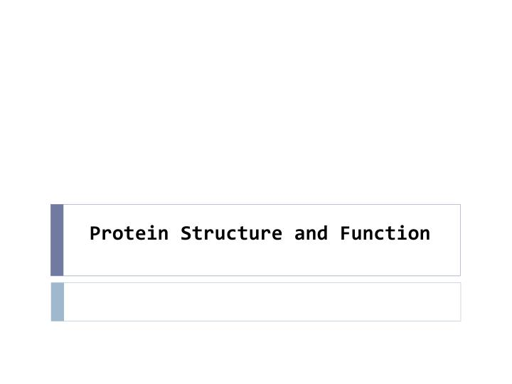 protein structure and function n.