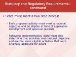 statutory and regulatory requirements continued