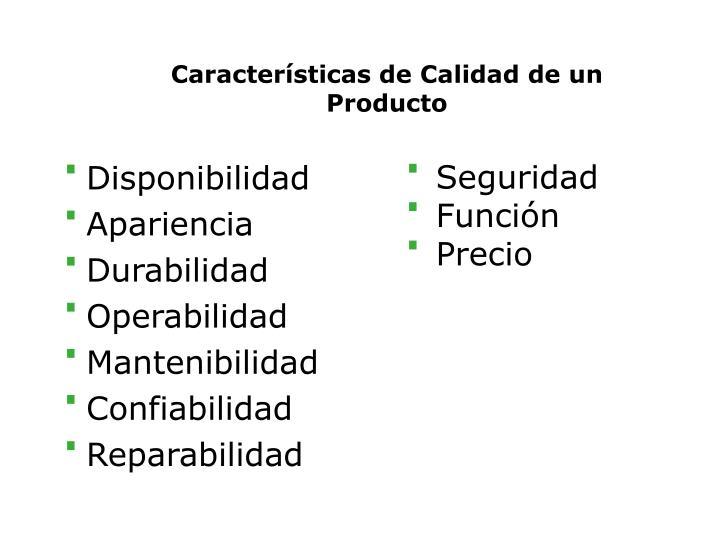Características de Calidad de un Producto
