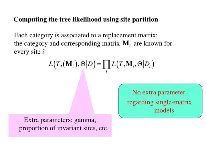 Computing the tree likelihood using site partition