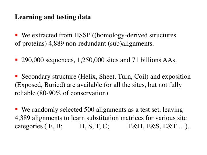 Learning and testing data
