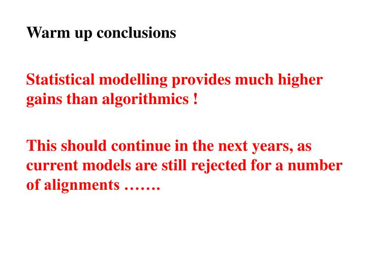 Warm up conclusions