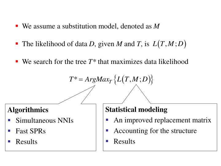 We assume a substitution model, denoted as