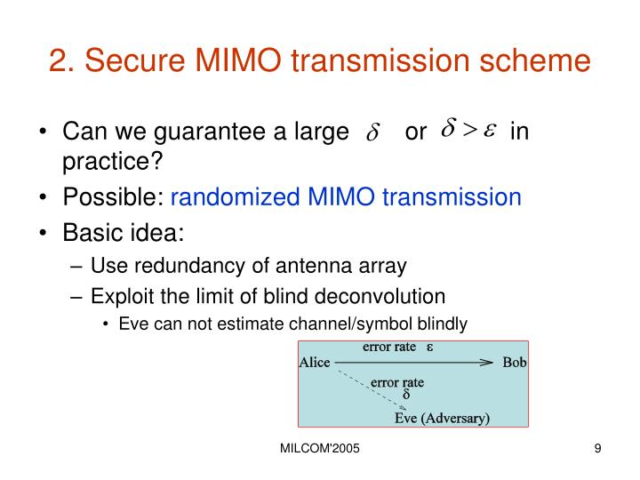 2. Secure MIMO transmission scheme