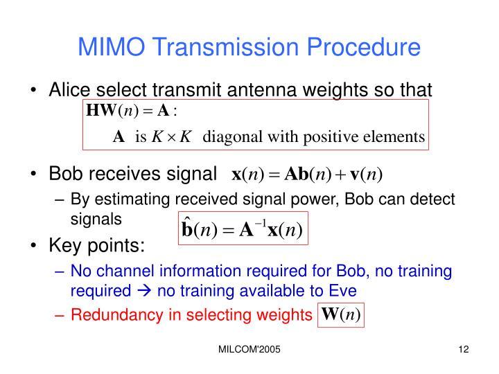 MIMO Transmission Procedure