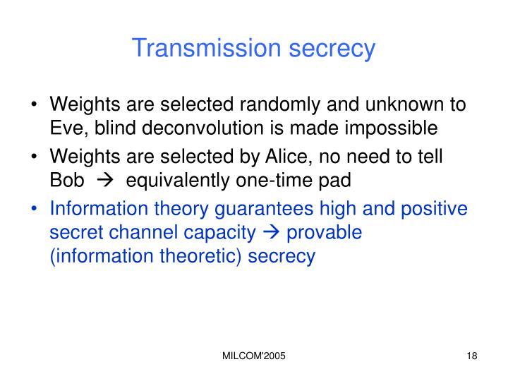 Transmission secrecy