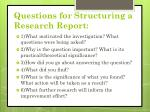 questions for structuring a research report