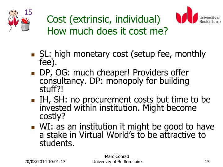 Cost (extrinsic, individual)